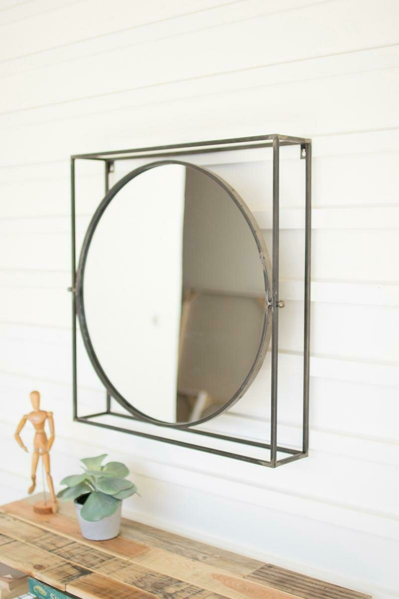 Round Mirror In Square Metal Frame (DISPLAY ONLY)