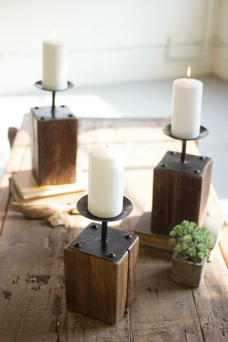 Recycled Wood Set Of 3 Candle Holders