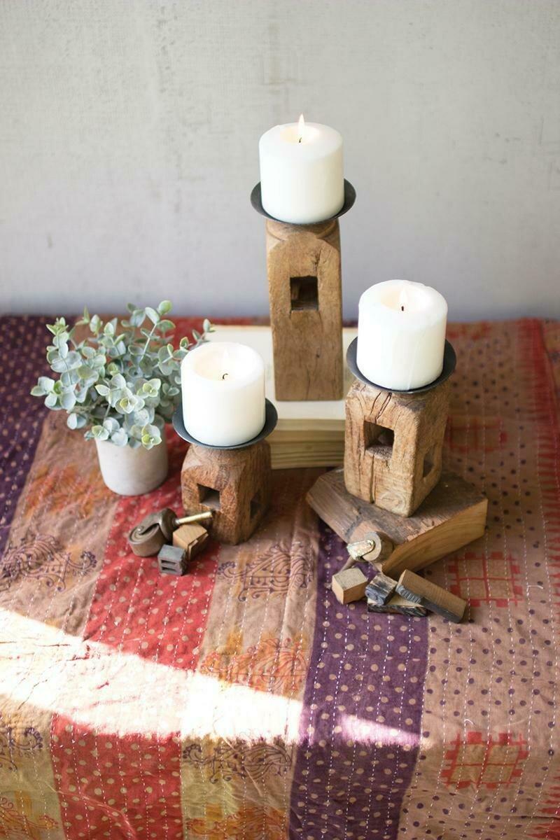 Square Wood Furniture Leg Set Of 3 Candle Holders