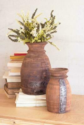 Mango Set Of 2 Wood Urns