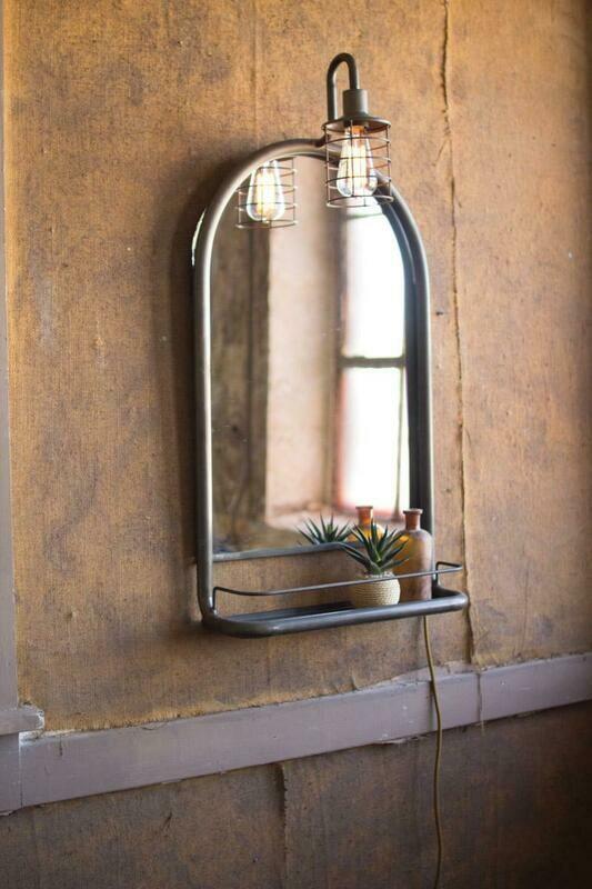 Wall Mirror w/Shelf & Light