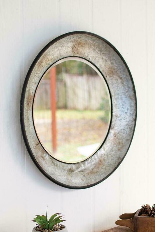 Natural Round Metal Mirror