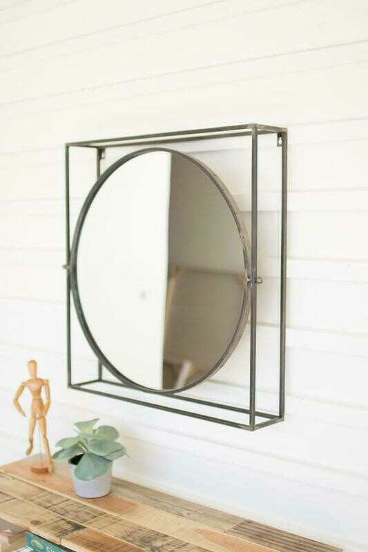 Round Mirror In Square Metal Frame