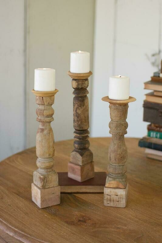 Wood Reclaimed Banister Set Of 3 Candle Holders