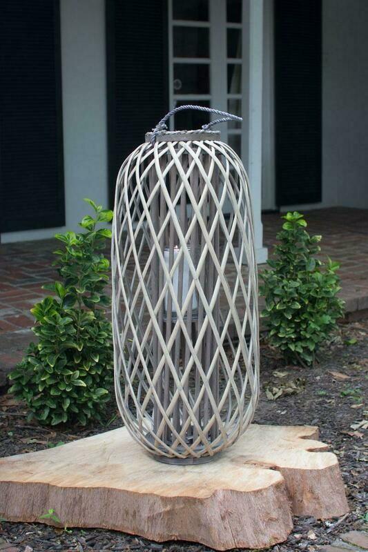 Large Tall Grey Willow Lantern w/Glass