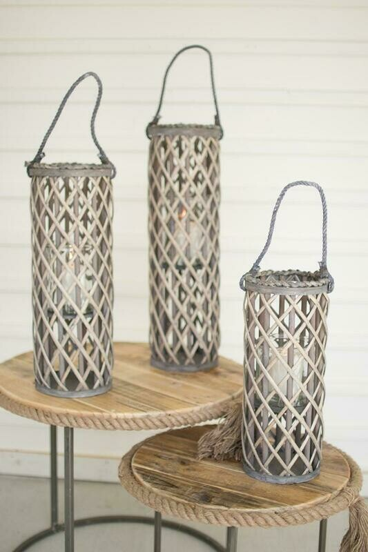 Willow Grey Set Of 3 Lanterns w/Glass