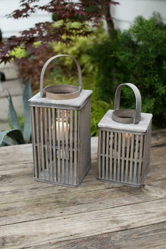 Square Gray Bamboo Set Of 2 Lantern w/Glass