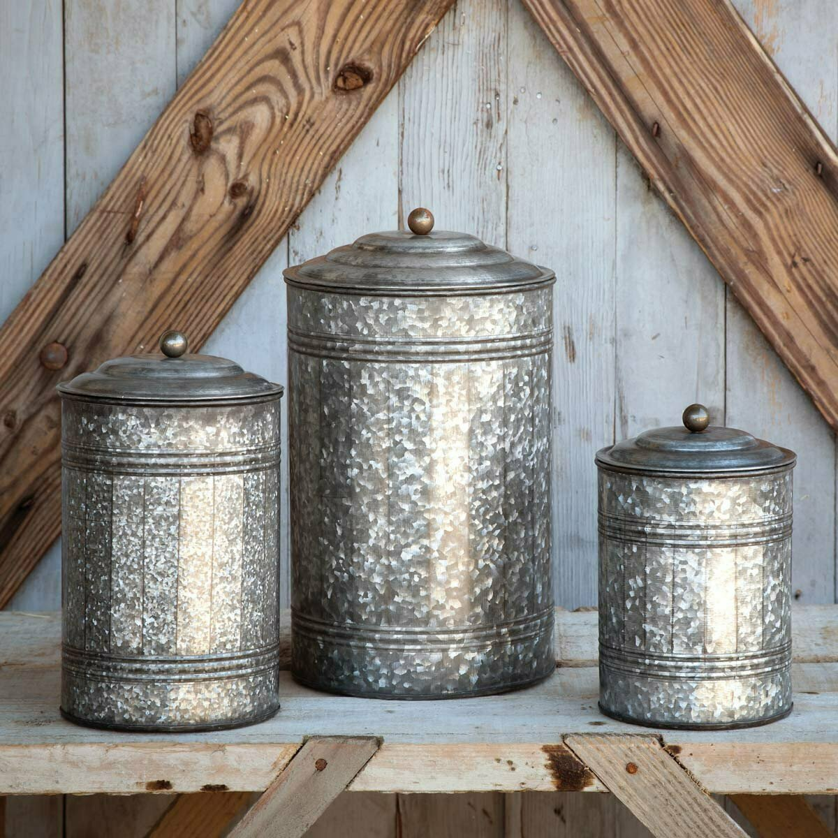 Tall Galvanized Canisters