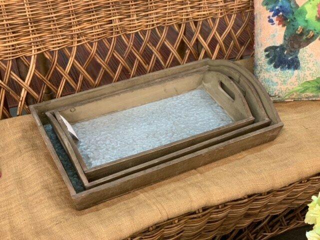 Set Of 3 Tin Bottom Trays (DISPLAY ONLY)