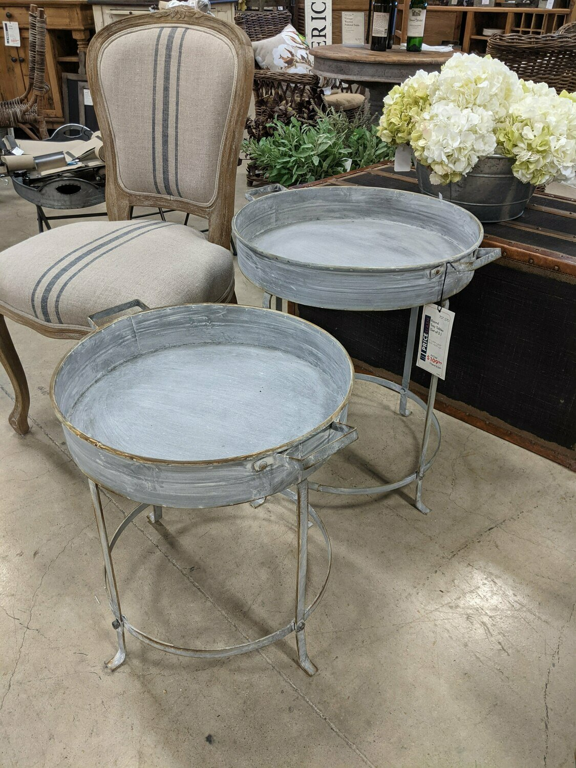 Round Tray Tables Set Of 2