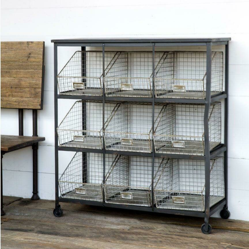 Metal Frame w/9 Baskets Wire Bin Cabinet