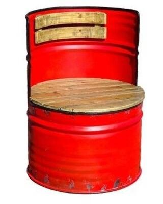 Medium Red Metal / Wood Drum Chair