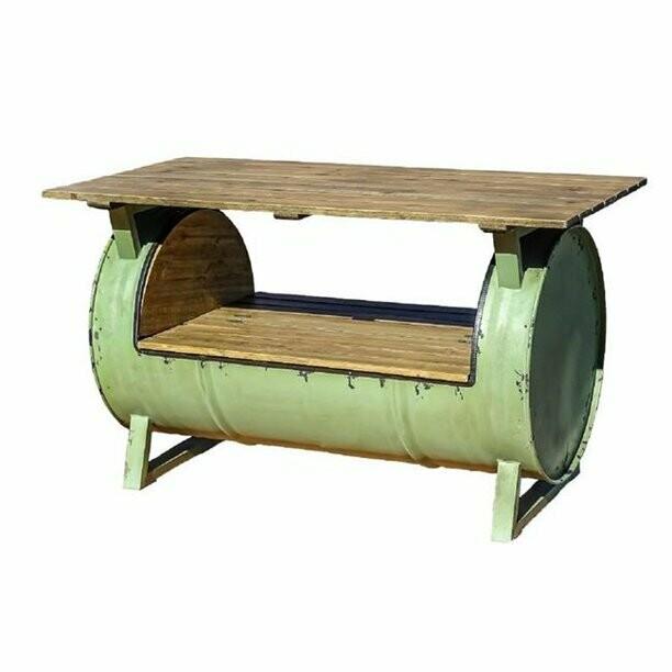 Green Metal / Wood Drum Table