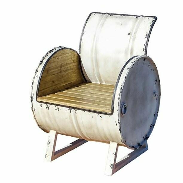 Large White Metal / Wood Drum Chair