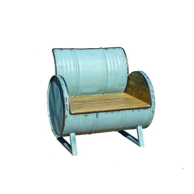 X Large Blue Metal / Wood Drum Chair