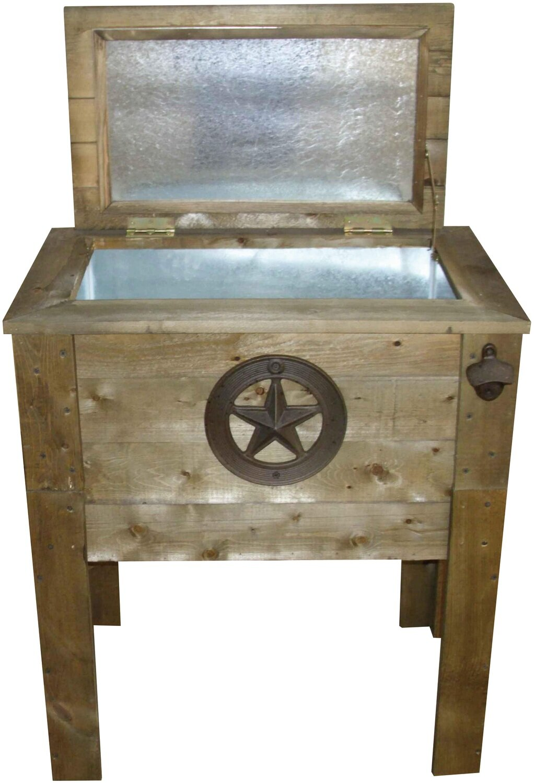 Wooden Single 57 Qt Cooler w/Star