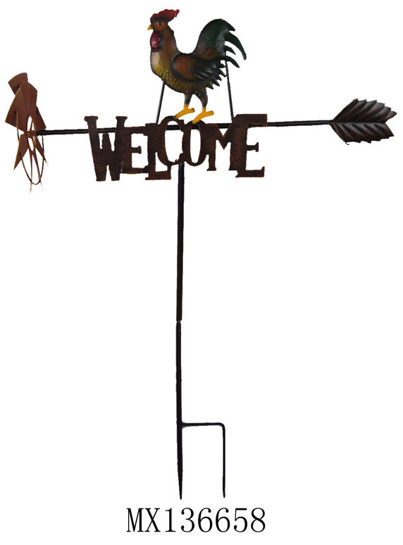 Rooster Welcome Garden Stake