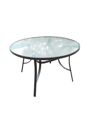 Steel Round Ripple Glass Table