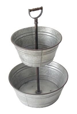 Metal 2 Tier Tub Planter