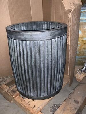 Small Tall Tin Corrugated Planter