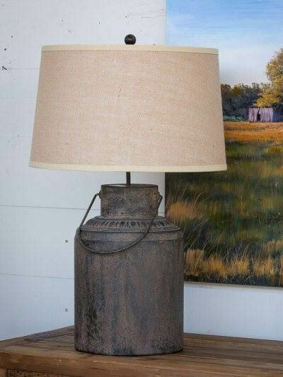 Aged Finish Metal Milk Can Lamp