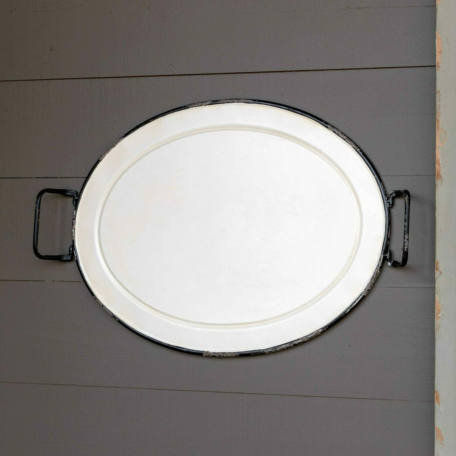 White Enamel Painted Oval Tray