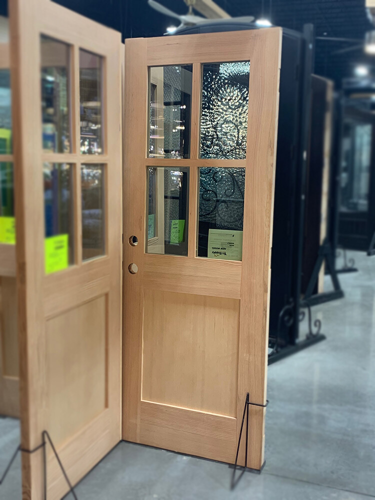 Custom Made 5068 Pair of 2668 LH/RH Fir Doors, 4 Lite Low E Glass, Double Bore, Mortised For Hinges, w/T-Ast, Flat Shaker Bottom Panel w/Custom Flat Divider Bars (SOLD IN PAIRS)