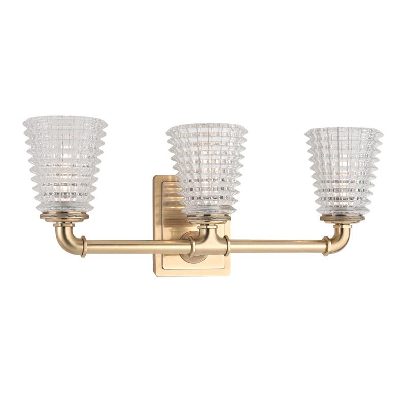 Westbrook Aged Brass 3 Lt Vanity w/Clear Glass