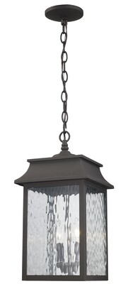 Weathered Bronze 2 Lt Hanging Lantern w/Clear Glass