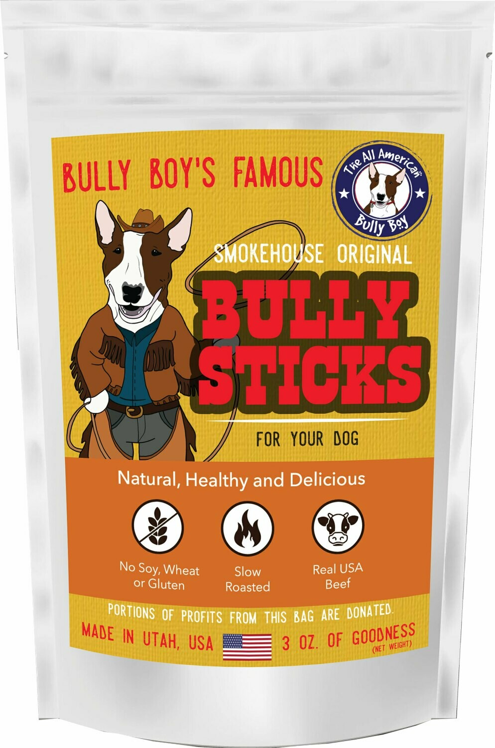 Case of 20 Bags - 3 oz Bully Sticks