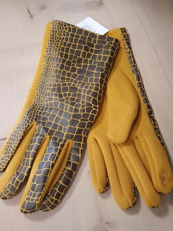 Handschoen oker print