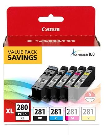 Canon PGI-280XL/CLI-281 High-Yield Black/Cyan/Magenta/Yellow Ink Tanks