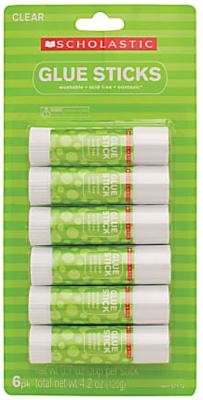 Scholastic Glue Sticks, 0.7 Oz., Clear, Pack Of 6