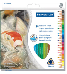 Staedtler Watercolor Pencils, 5 mm, Assorted Colors, Box Of 24 Pencils