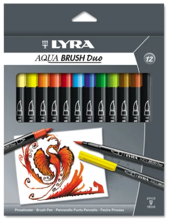 Dixon LYRA Aquabrush Duo Markers, Broad/Fine Point, Assorted Colors, Pack Of 12