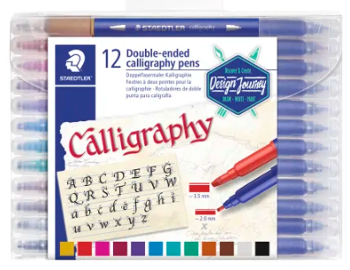 Staedtler Duo-Ended Markers, Calligraphy, 2.0 mm/3.5 mm, Blue Barrels, Assorted Ink Colors, Pack Of 12 Pens