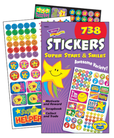 Trend Sticker Pad, Super Stars And Smiles, Pack Of 738