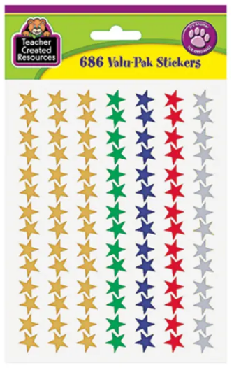 "Teacher Created Resources Valu-Pak Foil Stars Sticker - Acid-free - 0.50"" Diameter - Red, Blue, Gold, Green, Silver - 686 / Pack"