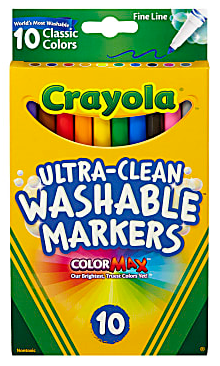 Crayola Ultra-Clean Washable Markers, Fine Tip, Assorted Classic Colors, Box Of 10