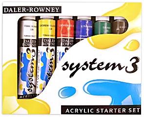 Daler-Rowney System 3 Acrylic Paint Set, Starter Set, 22 mL, Pack Of 6