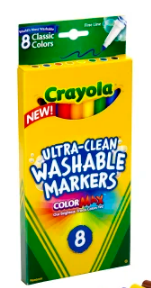 Crayola Ultra-Clean Washable Color Markers, Thin Line, Assorted Classic Colors, Box Of 8