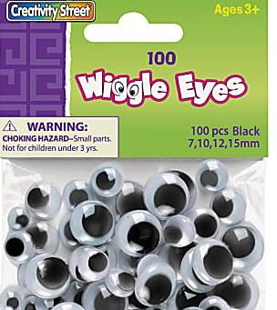 Chenille Kraft Creativity Street Wiggle Eyes, Assorted Sizes, Black/White, Pack of 100