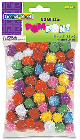 "Chenille Kraft Creativity Street Glitter Pompons, 1/2"", Assorted Colors, Pack Of 80"