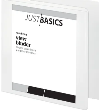 "Just Basics Basic Round-Ring View Binder, 3"" Rings, 61% Recycled, White"