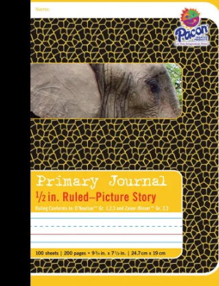 """Pacon Primary Journal Composition Book - 100 Sheets - 0.50"""" Ruled - 4.50"""" Picture Story Space - 7 1/2"""" x 9 3/4"""" - White Paper - Yellow Cover"""
