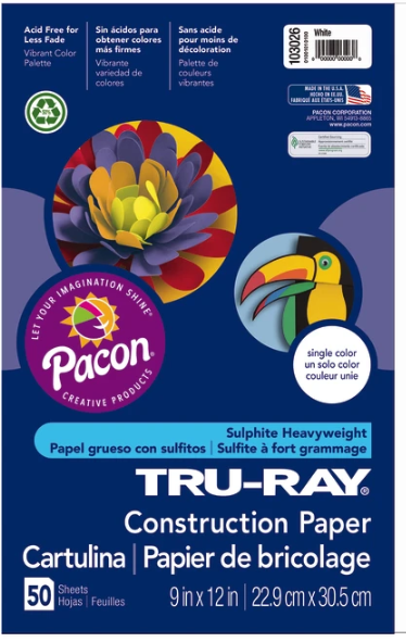 Tru-Ray Construction Paper, 50% Recycled, 9 x 12, White, Pack Of 50