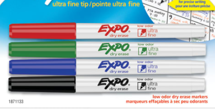 EXPO Low-Odor Dry-Erase Markers, Ultra-Fine Point, Assorted Colors, Pack Of 4