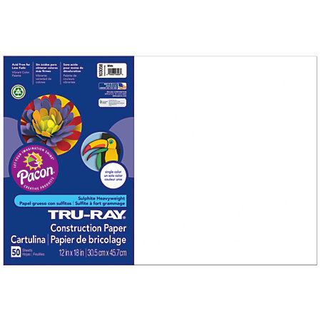 """Tru-Ray 50% Recycled Construction Paper, 12"""" x 18"""", White, Pack Of 50"""