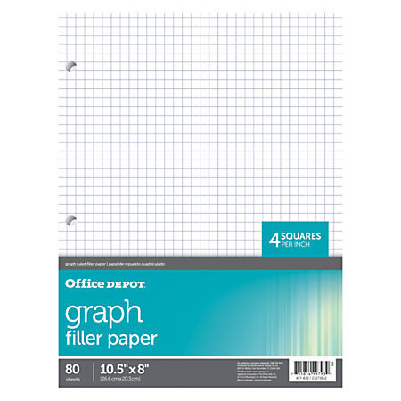 """Office Depot Brand Quadrille-Ruled Notebook Filler Paper, 8"""" x 10 1/2"""", White, Pack Of 80 Sheets"""