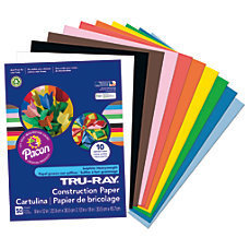 """Tru-Ray 50% Recycled Assorted Color Construction Paper, 9"""" x 12"""", Pack Of 50"""
